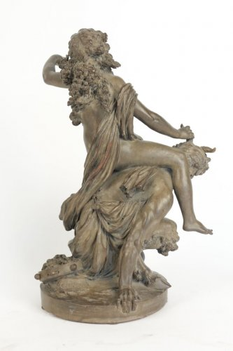 "- Large Terracotta ""Faun and Bacchante"""