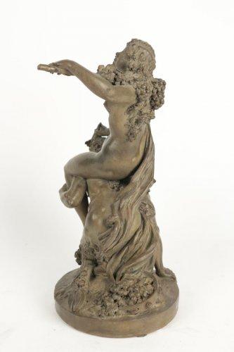 """Antiquités - Large Terracotta """"Faun and Bacchante"""""""