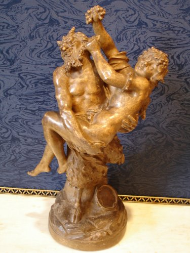 Faun and Bacchante 19th century Terracotta