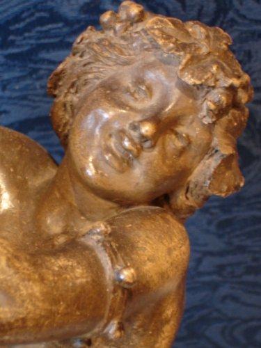 Faun and Bacchante 19th century Terracotta -