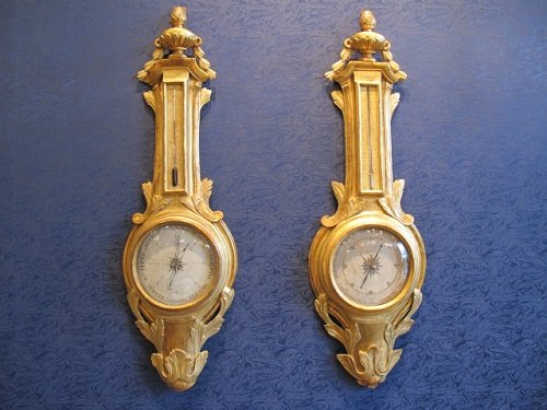 Pair of barometer-thermometer from Transition period