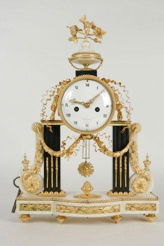 A Louis XVI period portico clock