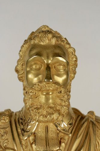 Antiquités - A Restauration period (1815 - 1830) clock with a bust of the king Henri IV