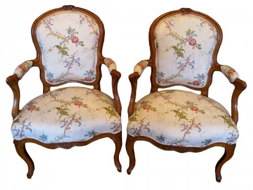 A Pair of Louis XV period (1724 - 1774) armchairs