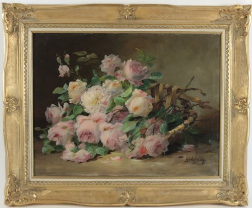 Emile Godchaux (1860 - ?) -  Roses in a basket