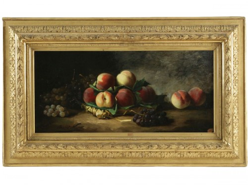 Alfred Arthur de Brunel de Neuville (1852 - 1941) - Still life with peaches