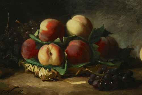 Paintings & Drawings  - Alfred Arthur de Brunel de Neuville (1852 - 1941) - Still life with peaches