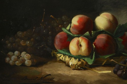 Alfred Arthur de Brunel de Neuville (1852 - 1941) - Still life with peaches -