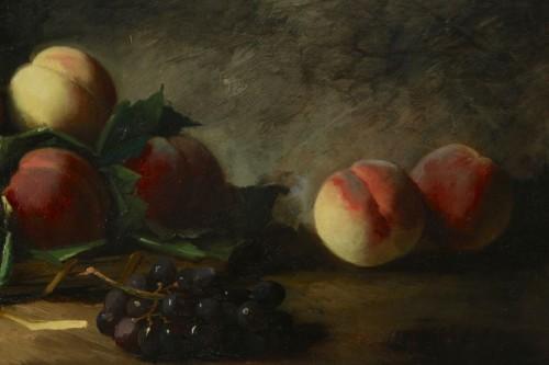 19th century - Alfred Arthur de Brunel de Neuville (1852 - 1941) - Still life with peaches