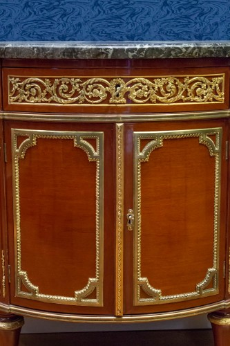 A Louis XVI style mahagony demi-lune commode - Furniture Style