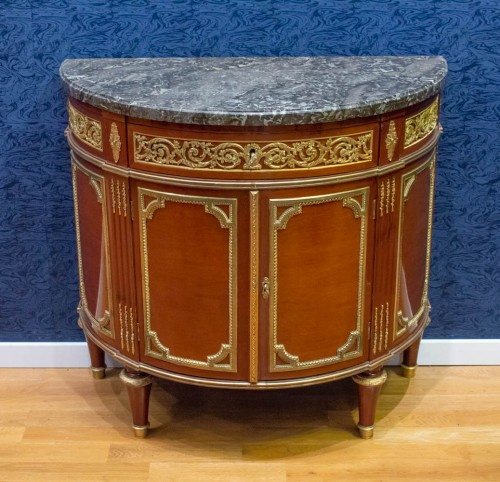 Furniture  - A Louis XVI style mahagony demi-lune commode