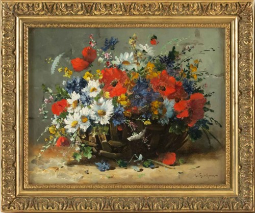 Emile Godchaux (1860 - 1938) - Poppies and Pansies - Paintings & Drawings Style