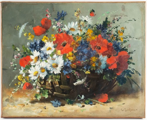 Emile Godchaux (1860 - 1938) - Poppies and Pansies -