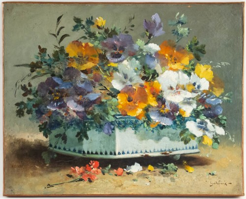 Antiquités - Emile Godchaux (1860 - 1938) - Poppies and Pansies