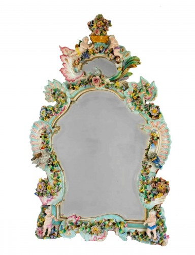 A French Napoleon III porcelain mirror