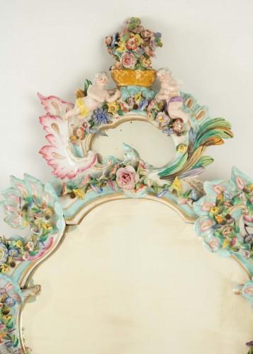 Mirrors, Trumeau  - A French Napoleon III porcelain mirror