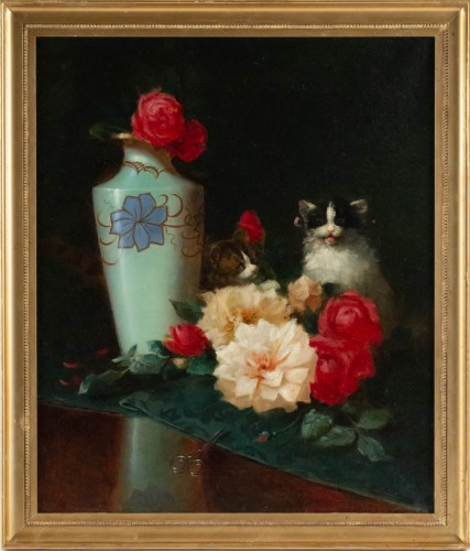 Maurice Isabelle Sprenger-Sébilleau (1849 - 1907) - Flowers with Cats