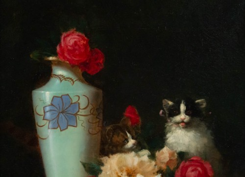 Maurice Isabelle Sprenger-Sébilleau (1849 - 1907) - Flowers with Cats - Paintings & Drawings Style