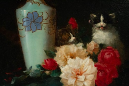 Paintings & Drawings  - Maurice Isabelle Sprenger-Sébilleau (1849 - 1907) - Flowers with Cats