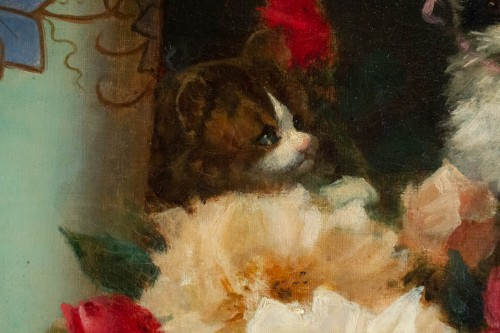 - Maurice Isabelle Sprenger-Sébilleau (1849 - 1907) - Flowers with Cats