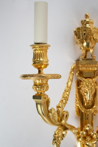 Lighting  - A Louis XVI style pair of wall lights