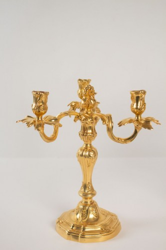 Lighting  - A late 19th century Pair of bronze candelabrums