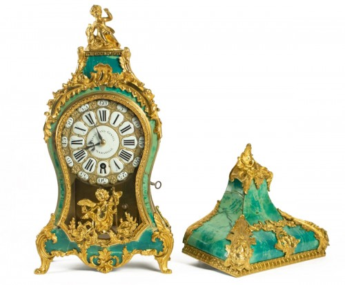 A Louis XV green horn bracket clock