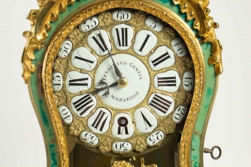Clocks  - A Louis XV green horn bracket clock
