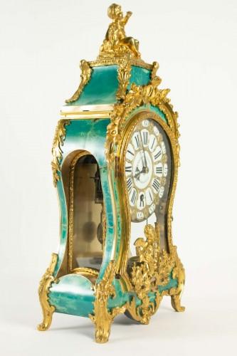 18th century - A Louis XV green horn bracket clock