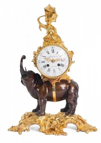 """A gilt bronze clock """"à l'éléphant""""."""