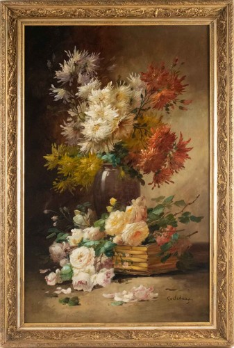 Alfred Godchaux (1835 - 1895) - Roses and chrysanthenums.