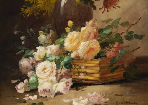 Alfred Godchaux (1835 - 1895) - Roses and chrysanthenums. - Paintings & Drawings Style