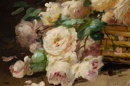 Paintings & Drawings  - Alfred Godchaux (1835 - 1895) - Roses and chrysanthenums.