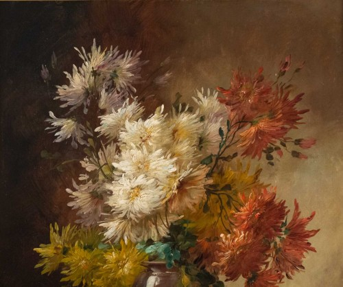 19th century - Alfred Godchaux (1835 - 1895) - Roses and chrysanthenums.