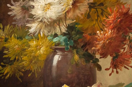 Alfred Godchaux (1835 - 1895) - Roses and chrysanthenums. -