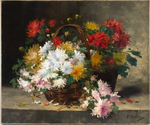 Chrysanthemum in a basket - French School of the 19th century