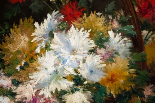Chrysanthemum in a basket - French School of the 19th century - Paintings & Drawings Style