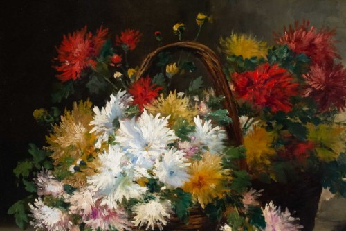 Chrysanthemum in a basket - French School of the 19th century -