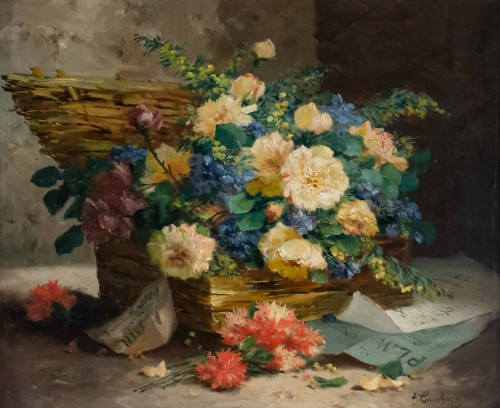 Eugène Henri Cauchois (1850 - 1911) - Basket with flowers