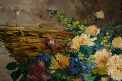 Paintings & Drawings  - Eugène Henri Cauchois (1850 - 1911) - Basket with flowers