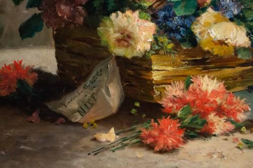 Eugène Henri Cauchois (1850 - 1911) - Basket with flowers -