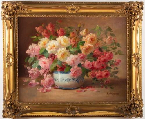 Alfred Godchaux (1835 - 1895) : Roses in a porcelain jar.
