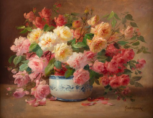 Alfred Godchaux (1835 - 1895) : Roses in a porcelain jar. - Paintings & Drawings Style