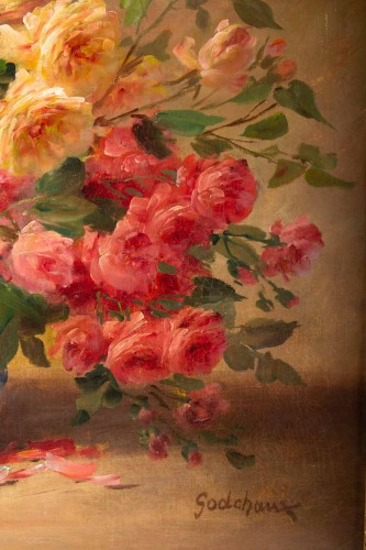 Paintings & Drawings  - Alfred Godchaux (1835 - 1895) : Roses in a porcelain jar.