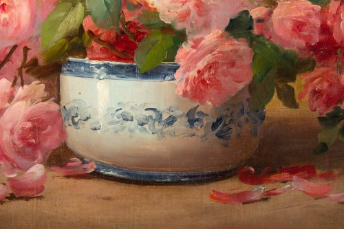 Alfred Godchaux (1835 - 1895) : Roses in a porcelain jar. -