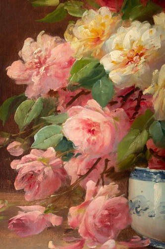 19th century - Alfred Godchaux (1835 - 1895) : Roses in a porcelain jar.