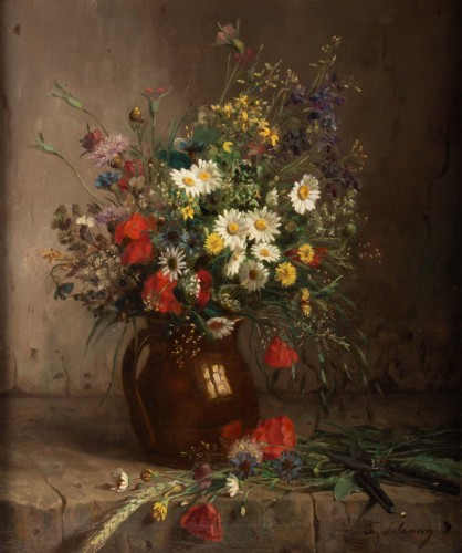 Eugènie Marie Salanson (1836 - 1912) : A Bouquet of meadow flowers. - Paintings & Drawings Style