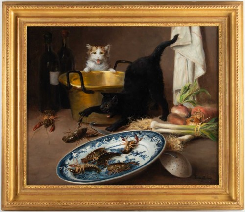 Alfred Arthur De Brunel de Neuville (1852 - 1941) - The Cats' Meal