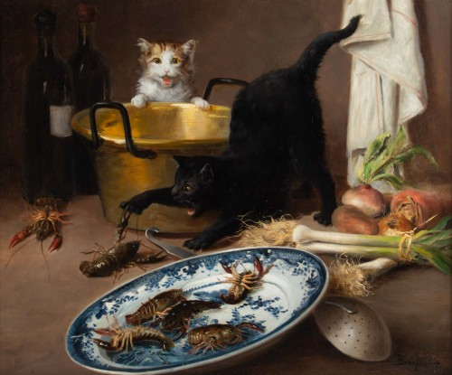Alfred Arthur De Brunel de Neuville (1852 - 1941) - The Cats' Meal - Paintings & Drawings Style