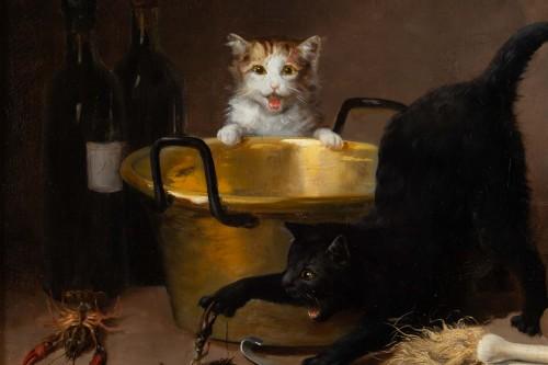 Paintings & Drawings  - Alfred Arthur De Brunel de Neuville (1852 - 1941) - The Cats' Meal